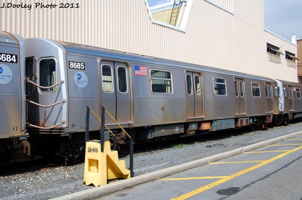 (329k, 1024x680)<br><b>Country:</b> United States<br><b>City:</b> New York<br><b>System:</b> New York City Transit<br><b>Location:</b> Coney Island Yard<br><b>Car:</b> R-160A-2 (Alstom, 2005-2008, 5 car sets)  8685 <br><b>Photo by:</b> John Dooley<br><b>Date:</b> 8/26/2011<br><b>Viewed (this week/total):</b> 0 / 397