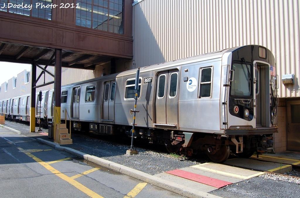 (347k, 1024x677)<br><b>Country:</b> United States<br><b>City:</b> New York<br><b>System:</b> New York City Transit<br><b>Location:</b> Coney Island Yard<br><b>Car:</b> R-160A-2 (Alstom, 2005-2008, 5 car sets)  8687 <br><b>Photo by:</b> John Dooley<br><b>Date:</b> 8/26/2011<br><b>Viewed (this week/total):</b> 1 / 763