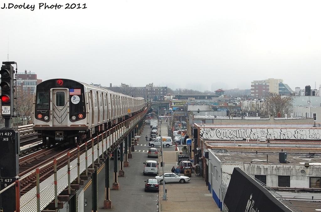 (324k, 1024x677)<br><b>Country:</b> United States<br><b>City:</b> New York<br><b>System:</b> New York City Transit<br><b>Line:</b> BMT Culver Line<br><b>Location:</b> Avenue P <br><b>Route:</b> F<br><b>Car:</b> R-160A (Option 1) (Alstom, 2008-2009, 5 car sets)  9558 <br><b>Photo by:</b> John Dooley<br><b>Date:</b> 12/5/2011<br><b>Viewed (this week/total):</b> 1 / 865