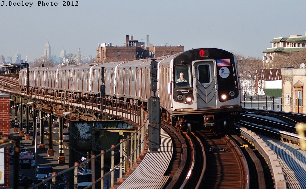 (339k, 1024x634)<br><b>Country:</b> United States<br><b>City:</b> New York<br><b>System:</b> New York City Transit<br><b>Line:</b> BMT Culver Line<br><b>Location:</b> Kings Highway <br><b>Route:</b> F<br><b>Car:</b> R-160A (Option 2) (Alstom, 2009, 5-car sets)  9657 <br><b>Photo by:</b> John Dooley<br><b>Date:</b> 3/19/2012<br><b>Viewed (this week/total):</b> 7 / 1000