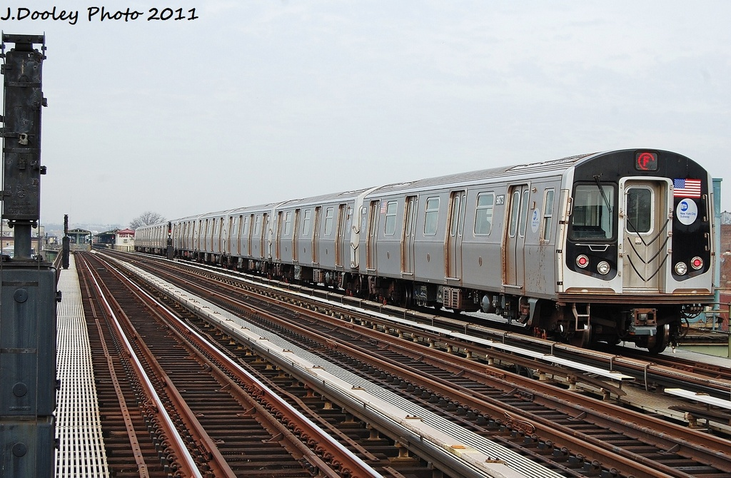 (347k, 1024x670)<br><b>Country:</b> United States<br><b>City:</b> New York<br><b>System:</b> New York City Transit<br><b>Line:</b> BMT Culver Line<br><b>Location:</b> Avenue I <br><b>Route:</b> F<br><b>Car:</b> R-160B (Option 2) (Kawasaki, 2009)  9873 <br><b>Photo by:</b> John Dooley<br><b>Date:</b> 12/5/2011<br><b>Viewed (this week/total):</b> 1 / 862