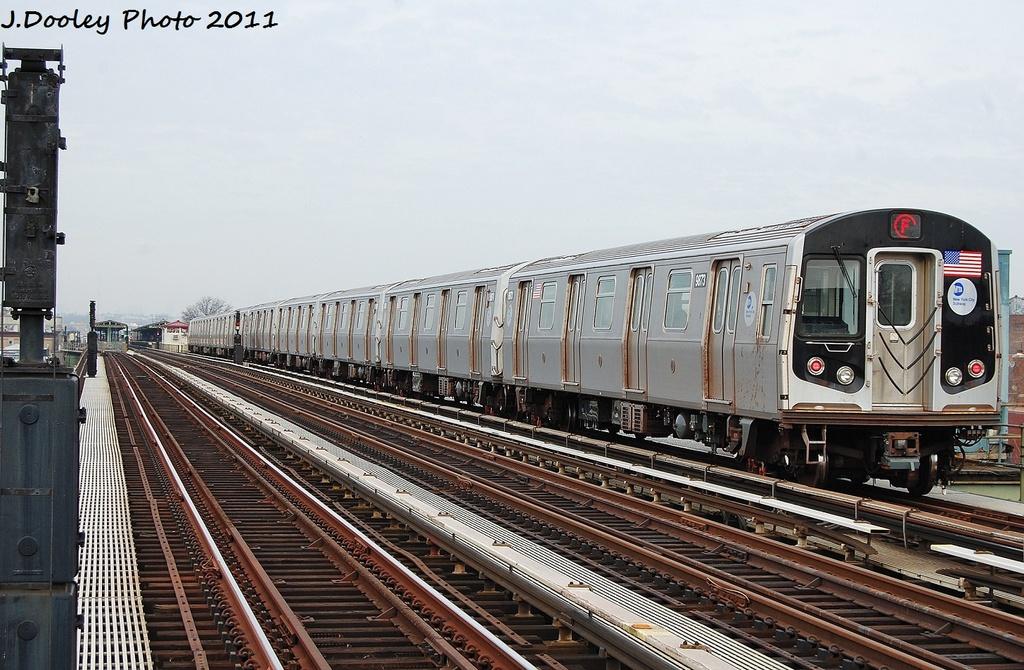 (347k, 1024x670)<br><b>Country:</b> United States<br><b>City:</b> New York<br><b>System:</b> New York City Transit<br><b>Line:</b> BMT Culver Line<br><b>Location:</b> Avenue I <br><b>Route:</b> F<br><b>Car:</b> R-160B (Option 2) (Kawasaki, 2009)  9873 <br><b>Photo by:</b> John Dooley<br><b>Date:</b> 12/5/2011<br><b>Viewed (this week/total):</b> 0 / 898