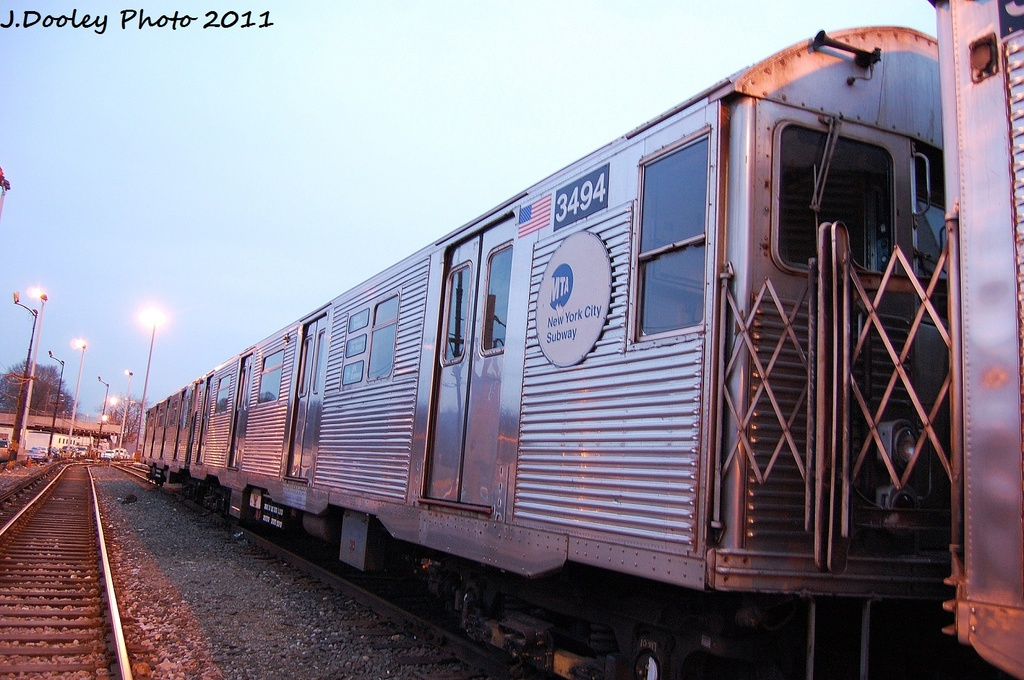 (329k, 1024x680)<br><b>Country:</b> United States<br><b>City:</b> New York<br><b>System:</b> New York City Transit<br><b>Location:</b> 36th Street Yard<br><b>Car:</b> R-32 (Budd, 1964)  3494 <br><b>Photo by:</b> John Dooley<br><b>Date:</b> 12/29/2011<br><b>Viewed (this week/total):</b> 1 / 1006