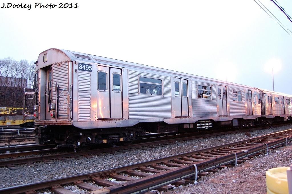 (323k, 1024x680)<br><b>Country:</b> United States<br><b>City:</b> New York<br><b>System:</b> New York City Transit<br><b>Location:</b> 36th Street Yard<br><b>Car:</b> R-32 (Budd, 1964)  3495 <br><b>Photo by:</b> John Dooley<br><b>Date:</b> 12/29/2011<br><b>Viewed (this week/total):</b> 3 / 1011
