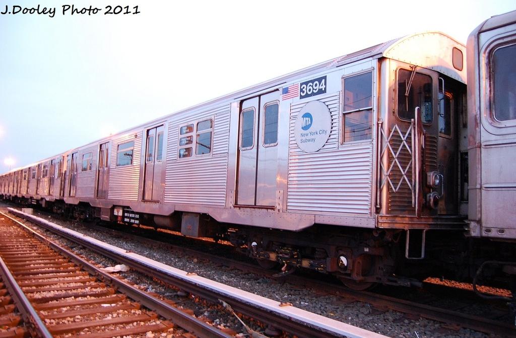 (309k, 1024x671)<br><b>Country:</b> United States<br><b>City:</b> New York<br><b>System:</b> New York City Transit<br><b>Location:</b> 36th Street Yard<br><b>Car:</b> R-32 (Budd, 1964)  3694 <br><b>Photo by:</b> John Dooley<br><b>Date:</b> 12/29/2011<br><b>Viewed (this week/total):</b> 0 / 716