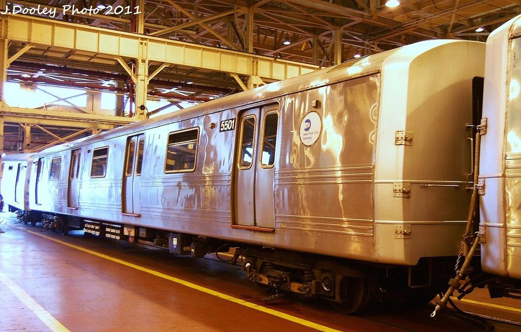 (365k, 1024x653)<br><b>Country:</b> United States<br><b>City:</b> New York<br><b>System:</b> New York City Transit<br><b>Location:</b> Coney Island Shop/Overhaul & Repair Shop<br><b>Car:</b> R-46 (Pullman-Standard, 1974-75) 5501 <br><b>Photo by:</b> John Dooley<br><b>Date:</b> 8/26/2011<br><b>Viewed (this week/total):</b> 0 / 412
