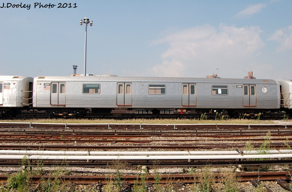 (337k, 1024x674)<br><b>Country:</b> United States<br><b>City:</b> New York<br><b>System:</b> New York City Transit<br><b>Location:</b> Coney Island Yard<br><b>Car:</b> R-46 (Pullman-Standard, 1974-75) 5991 <br><b>Photo by:</b> John Dooley<br><b>Date:</b> 8/26/2011<br><b>Viewed (this week/total):</b> 0 / 476