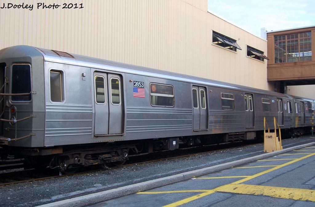(284k, 1024x673)<br><b>Country:</b> United States<br><b>City:</b> New York<br><b>System:</b> New York City Transit<br><b>Location:</b> Coney Island Yard<br><b>Car:</b> R-68 (Westinghouse-Amrail, 1986-1988)  2853 <br><b>Photo by:</b> John Dooley<br><b>Date:</b> 8/26/2011<br><b>Viewed (this week/total):</b> 0 / 593