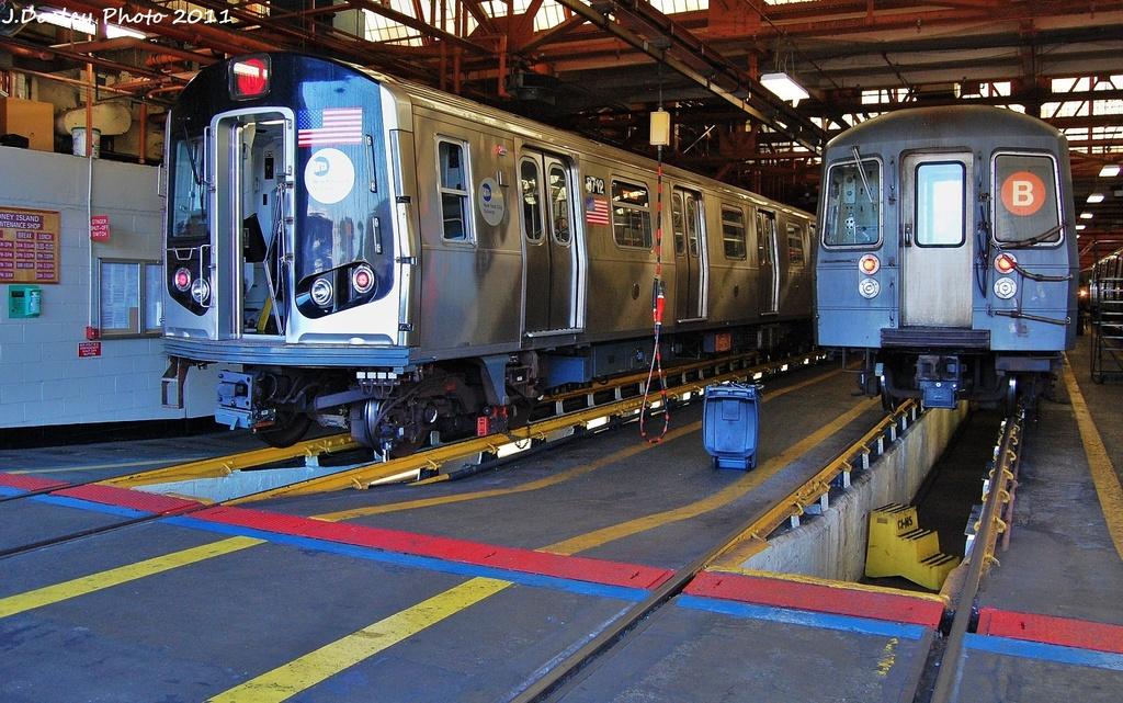 (387k, 1024x641)<br><b>Country:</b> United States<br><b>City:</b> New York<br><b>System:</b> New York City Transit<br><b>Location:</b> Coney Island Shop/Overhaul & Repair Shop<br><b>Car:</b> R-160A-2 (Alstom, 2005-2008, 5 car sets)  8712 <br><b>Photo by:</b> John Dooley<br><b>Date:</b> 10/9/2011<br><b>Viewed (this week/total):</b> 0 / 719