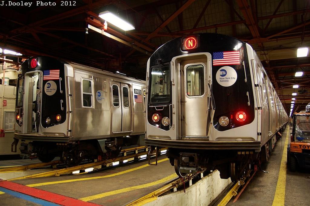 (357k, 1024x680)<br><b>Country:</b> United States<br><b>City:</b> New York<br><b>System:</b> New York City Transit<br><b>Location:</b> Coney Island Shop/Overhaul & Repair Shop<br><b>Car:</b> R-160B (Option 1) (Kawasaki, 2008-2009)  8993 <br><b>Photo by:</b> John Dooley<br><b>Date:</b> 2/27/2012<br><b>Viewed (this week/total):</b> 0 / 975