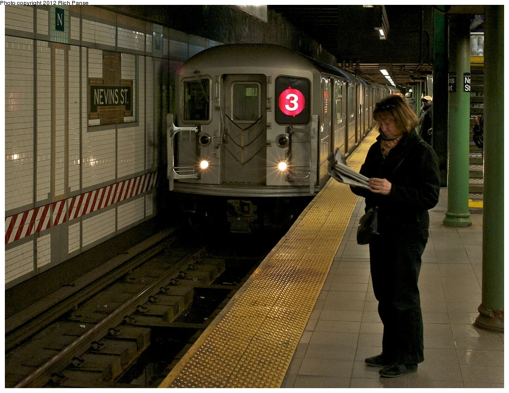 (327k, 1044x808)<br><b>Country:</b> United States<br><b>City:</b> New York<br><b>System:</b> New York City Transit<br><b>Line:</b> IRT Brooklyn Line<br><b>Location:</b> Nevins Street <br><b>Route:</b> 3<br><b>Car:</b> R-62 (Kawasaki, 1983-1985)  1595 <br><b>Photo by:</b> Richard Panse<br><b>Date:</b> 2012<br><b>Viewed (this week/total):</b> 7 / 2262