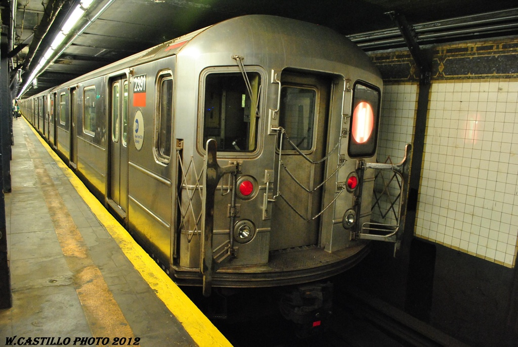(303k, 1024x687)<br><b>Country:</b> United States<br><b>City:</b> New York<br><b>System:</b> New York City Transit<br><b>Line:</b> IRT West Side Line<br><b>Location:</b> 14th Street <br><b>Route:</b> 1<br><b>Car:</b> R-62A (Bombardier, 1984-1987)  2391 <br><b>Photo by:</b> Wilfredo Castillo<br><b>Date:</b> 4/28/2012<br><b>Viewed (this week/total):</b> 7 / 1422