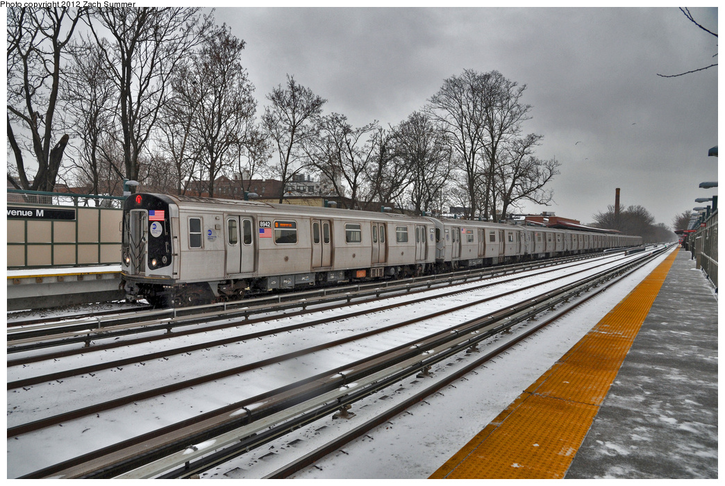 (440k, 1044x700)<br><b>Country:</b> United States<br><b>City:</b> New York<br><b>System:</b> New York City Transit<br><b>Line:</b> BMT Brighton Line<br><b>Location:</b> Avenue M <br><b>Route:</b> Q<br><b>Car:</b> R-160B (Kawasaki, 2005-2008)  8942 <br><b>Photo by:</b> Zach Summer<br><b>Date:</b> 1/21/2012<br><b>Viewed (this week/total):</b> 3 / 1174