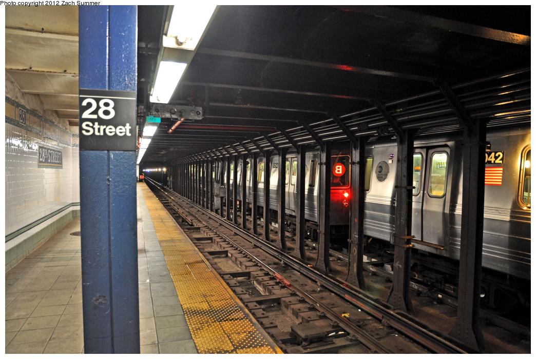 (395k, 1044x700)<br><b>Country:</b> United States<br><b>City:</b> New York<br><b>System:</b> New York City Transit<br><b>Line:</b> BMT Broadway Line<br><b>Location:</b> 28th Street <br><b>Route:</b> Snow Layup<br><b>Car:</b> R-68A (Kawasaki, 1988-1989)  5054/5042 <br><b>Photo by:</b> Zach Summer<br><b>Date:</b> 1/21/2012<br><b>Viewed (this week/total):</b> 4 / 1299