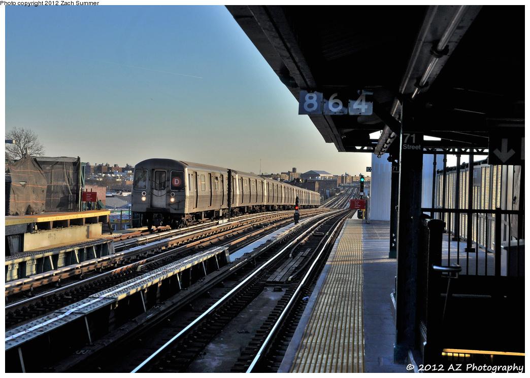 (365k, 1044x746)<br><b>Country:</b> United States<br><b>City:</b> New York<br><b>System:</b> New York City Transit<br><b>Line:</b> BMT West End Line<br><b>Location:</b> 71st Street <br><b>Route:</b> D<br><b>Car:</b> R-68 (Westinghouse-Amrail, 1986-1988)  2710 <br><b>Photo by:</b> Zach Summer<br><b>Date:</b> 1/31/2012<br><b>Viewed (this week/total):</b> 1 / 878