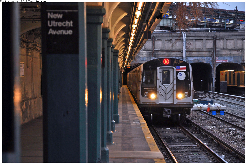 (393k, 1044x700)<br><b>Country:</b> United States<br><b>City:</b> New York<br><b>System:</b> New York City Transit<br><b>Line:</b> BMT Sea Beach Line<br><b>Location:</b> New Utrecht Avenue <br><b>Route:</b> N<br><b>Car:</b> R-160B (Kawasaki, 2005-2008)  8767 <br><b>Photo by:</b> Zach Summer<br><b>Date:</b> 2/4/2012<br><b>Viewed (this week/total):</b> 0 / 1211