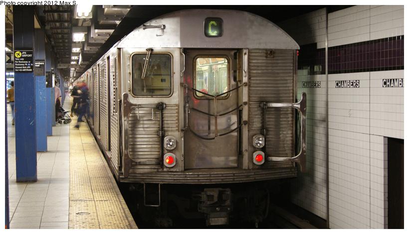 (198k, 820x470)<br><b>Country:</b> United States<br><b>City:</b> New York<br><b>System:</b> New York City Transit<br><b>Line:</b> IND 8th Avenue Line<br><b>Location:</b> Chambers Street/World Trade Center <br><b>Route:</b> C<br><b>Car:</b> R-32 (Budd, 1964)   <br><b>Photo by:</b> Max S.<br><b>Date:</b> 5/5/2012<br><b>Viewed (this week/total):</b> 0 / 1050