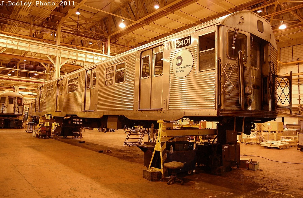 (415k, 1024x671)<br><b>Country:</b> United States<br><b>City:</b> New York<br><b>System:</b> New York City Transit<br><b>Location:</b> Coney Island Shop/Overhaul & Repair Shop<br><b>Car:</b> R-32 (Budd, 1964)  3401 <br><b>Photo by:</b> John Dooley<br><b>Date:</b> 12/17/2011<br><b>Viewed (this week/total):</b> 2 / 530