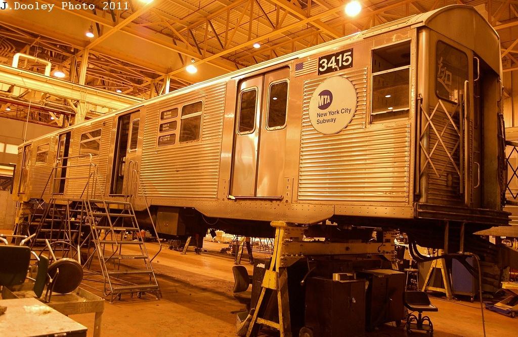 (403k, 1024x666)<br><b>Country:</b> United States<br><b>City:</b> New York<br><b>System:</b> New York City Transit<br><b>Location:</b> Coney Island Shop/Overhaul & Repair Shop<br><b>Car:</b> R-32 (Budd, 1964)  3415 <br><b>Photo by:</b> John Dooley<br><b>Date:</b> 12/17/2011<br><b>Viewed (this week/total):</b> 0 / 486
