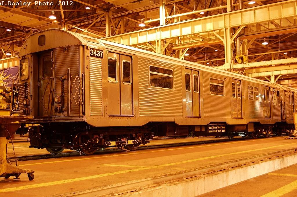 (411k, 1024x678)<br><b>Country:</b> United States<br><b>City:</b> New York<br><b>System:</b> New York City Transit<br><b>Location:</b> Coney Island Shop/Overhaul & Repair Shop<br><b>Car:</b> R-32 (Budd, 1964)  3437 <br><b>Photo by:</b> John Dooley<br><b>Date:</b> 2/21/2012<br><b>Viewed (this week/total):</b> 1 / 509