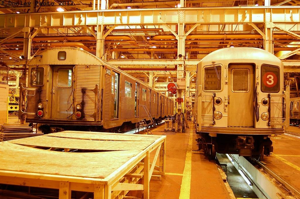 (439k, 1024x680)<br><b>Country:</b> United States<br><b>City:</b> New York<br><b>System:</b> New York City Transit<br><b>Location:</b> Coney Island Shop/Overhaul & Repair Shop<br><b>Car:</b> R-32 (Budd, 1964)  3452 <br><b>Photo by:</b> John Dooley<br><b>Date:</b> 2/27/2012<br><b>Notes:</b> With R-62 1306<br><b>Viewed (this week/total):</b> 1 / 961