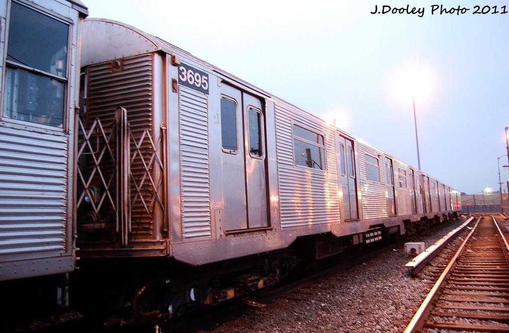 (313k, 1024x671)<br><b>Country:</b> United States<br><b>City:</b> New York<br><b>System:</b> New York City Transit<br><b>Location:</b> 36th Street Yard<br><b>Car:</b> R-32 (Budd, 1964)  3695 <br><b>Photo by:</b> John Dooley<br><b>Date:</b> 12/29/2011<br><b>Viewed (this week/total):</b> 2 / 934