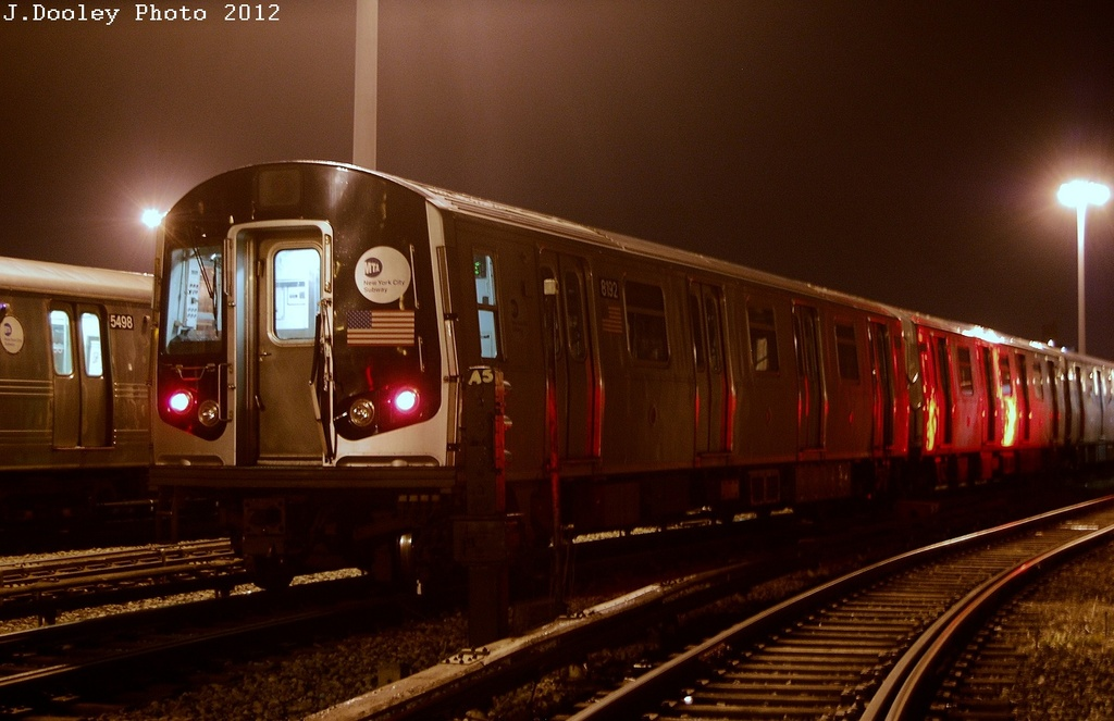 (269k, 1024x663)<br><b>Country:</b> United States<br><b>City:</b> New York<br><b>System:</b> New York City Transit<br><b>Location:</b> Coney Island Yard<br><b>Car:</b> R-143 (Kawasaki, 2001-2002) 8192 <br><b>Photo by:</b> John Dooley<br><b>Date:</b> 2/23/2012<br><b>Viewed (this week/total):</b> 2 / 503