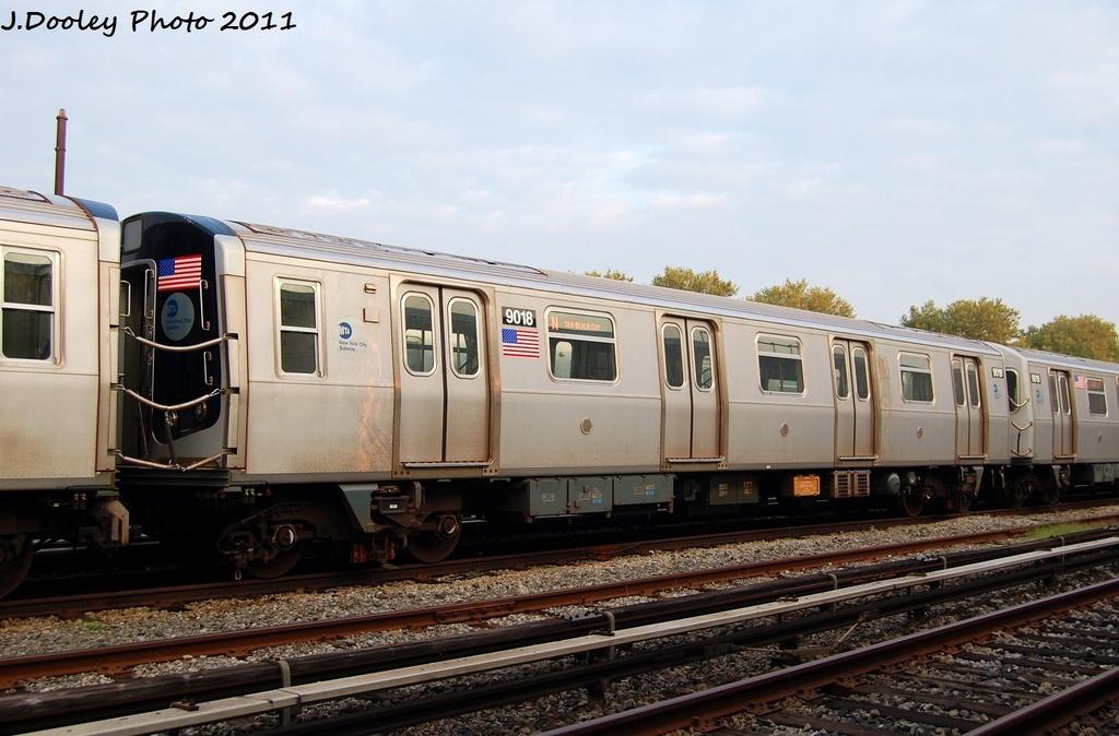 (286k, 1024x674)<br><b>Country:</b> United States<br><b>City:</b> New York<br><b>System:</b> New York City Transit<br><b>Location:</b> Coney Island Yard<br><b>Car:</b> R-160B (Option 1) (Kawasaki, 2008-2009)  9018 <br><b>Photo by:</b> John Dooley<br><b>Date:</b> 8/26/2011<br><b>Viewed (this week/total):</b> 0 / 492