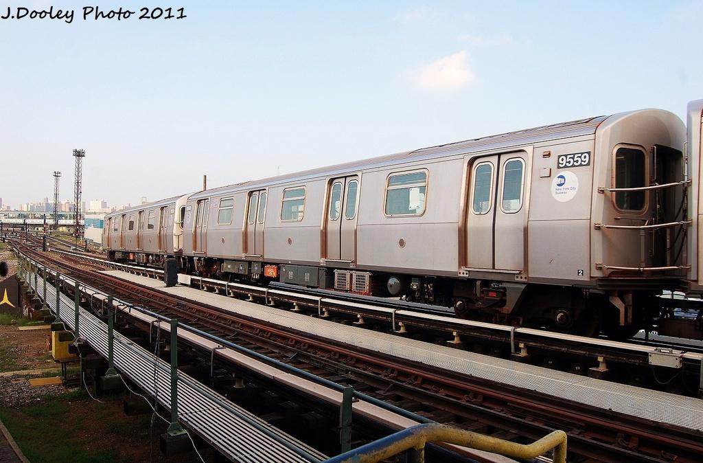 (325k, 1024x674)<br><b>Country:</b> United States<br><b>City:</b> New York<br><b>System:</b> New York City Transit<br><b>Location:</b> Coney Island Yard<br><b>Car:</b> R-160A (Option 1) (Alstom, 2008-2009, 5 car sets)  9559 <br><b>Photo by:</b> John Dooley<br><b>Date:</b> 8/26/2011<br><b>Viewed (this week/total):</b> 1 / 639