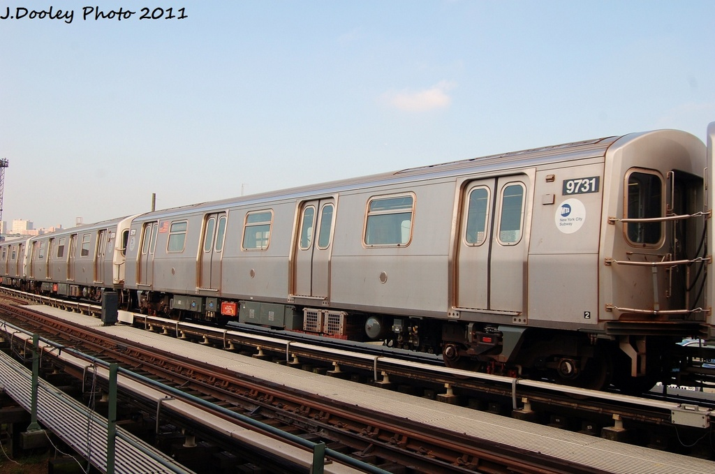 (275k, 1024x679)<br><b>Country:</b> United States<br><b>City:</b> New York<br><b>System:</b> New York City Transit<br><b>Location:</b> Coney Island Yard<br><b>Car:</b> R-160A (Option 2) (Alstom, 2009, 5-car sets)  9731 <br><b>Photo by:</b> John Dooley<br><b>Date:</b> 8/26/2011<br><b>Viewed (this week/total):</b> 0 / 569