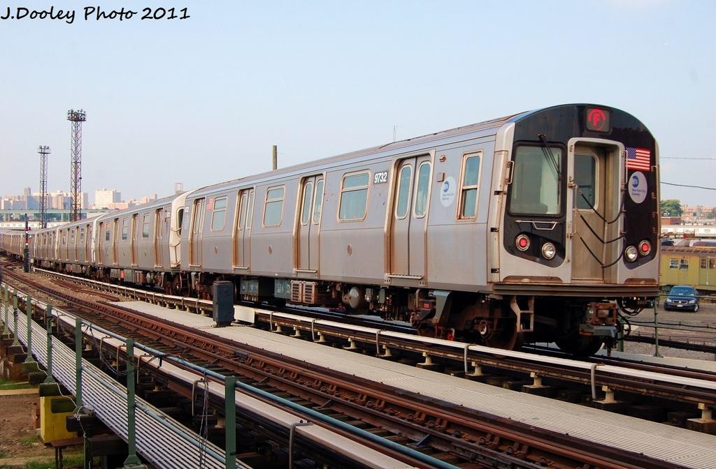 (312k, 1024x672)<br><b>Country:</b> United States<br><b>City:</b> New York<br><b>System:</b> New York City Transit<br><b>Location:</b> Coney Island Yard<br><b>Car:</b> R-160A (Option 2) (Alstom, 2009, 5-car sets)  9732 <br><b>Photo by:</b> John Dooley<br><b>Date:</b> 8/26/2011<br><b>Viewed (this week/total):</b> 2 / 704