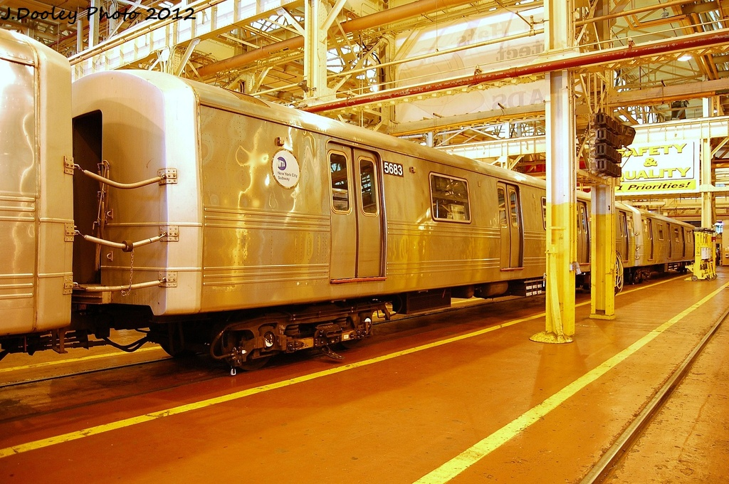 (387k, 1024x680)<br><b>Country:</b> United States<br><b>City:</b> New York<br><b>System:</b> New York City Transit<br><b>Location:</b> Coney Island Shop/Overhaul & Repair Shop<br><b>Car:</b> R-46 (Pullman-Standard, 1974-75) 5683 <br><b>Photo by:</b> John Dooley<br><b>Date:</b> 1/7/2012<br><b>Viewed (this week/total):</b> 0 / 489