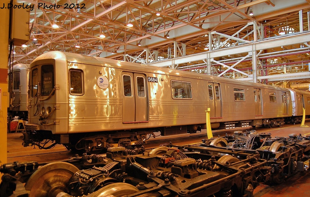 (424k, 1024x650)<br><b>Country:</b> United States<br><b>City:</b> New York<br><b>System:</b> New York City Transit<br><b>Location:</b> Coney Island Shop/Overhaul & Repair Shop<br><b>Car:</b> R-46 (Pullman-Standard, 1974-75) 5684 <br><b>Photo by:</b> John Dooley<br><b>Date:</b> 1/7/2012<br><b>Viewed (this week/total):</b> 3 / 825