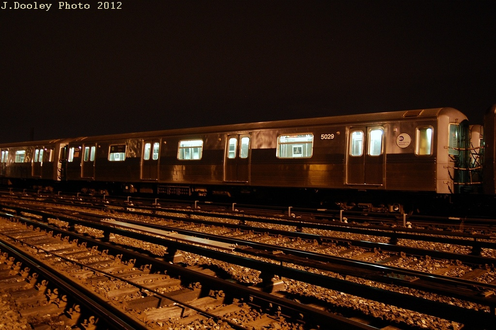 (320k, 1024x680)<br><b>Country:</b> United States<br><b>City:</b> New York<br><b>System:</b> New York City Transit<br><b>Location:</b> Coney Island Yard<br><b>Car:</b> R-68A (Kawasaki, 1988-1989)  5029 <br><b>Photo by:</b> John Dooley<br><b>Date:</b> 2/23/2012<br><b>Viewed (this week/total):</b> 0 / 658