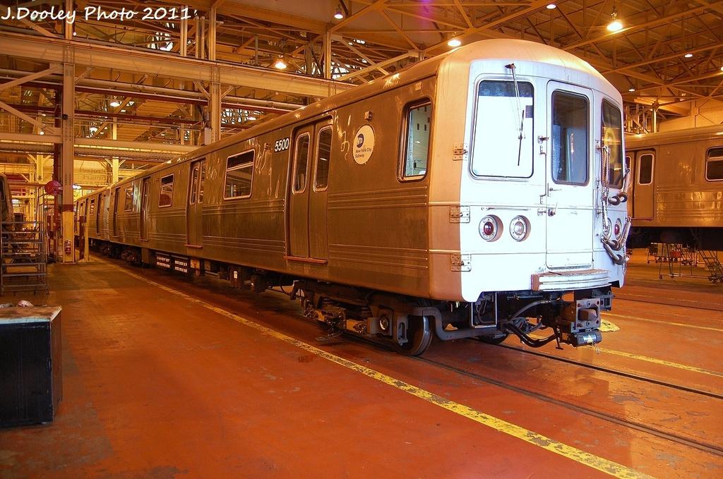(373k, 1024x679)<br><b>Country:</b> United States<br><b>City:</b> New York<br><b>System:</b> New York City Transit<br><b>Location:</b> Coney Island Shop/Overhaul & Repair Shop<br><b>Car:</b> R-46 (Pullman-Standard, 1974-75) 5500 <br><b>Photo by:</b> John Dooley<br><b>Date:</b> 8/26/2011<br><b>Viewed (this week/total):</b> 0 / 501