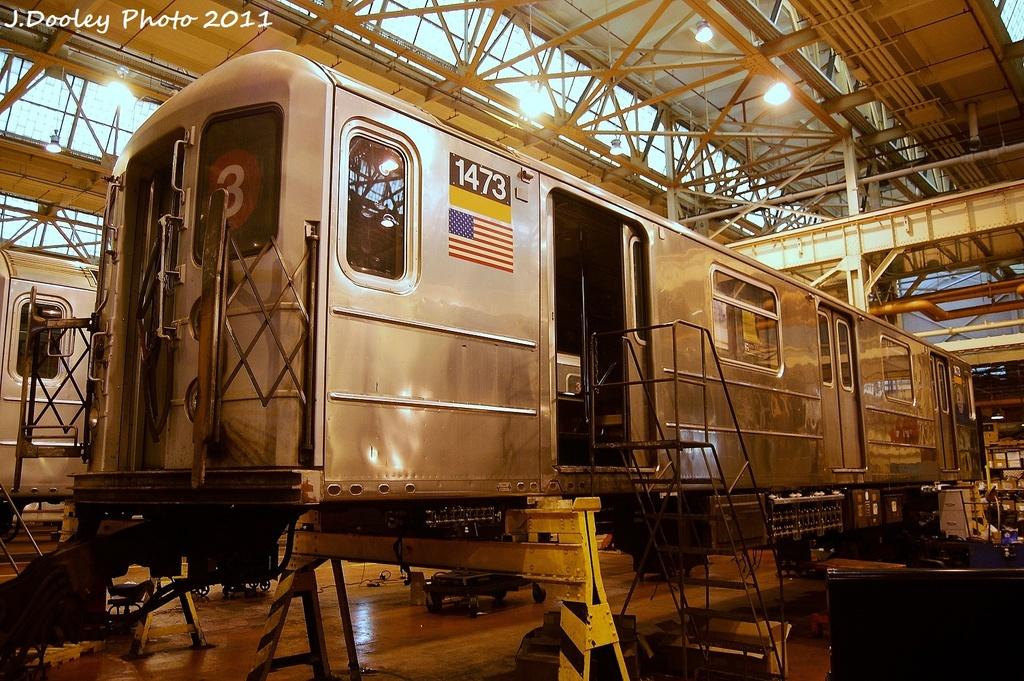 (404k, 1024x681)<br><b>Country:</b> United States<br><b>City:</b> New York<br><b>System:</b> New York City Transit<br><b>Location:</b> Coney Island Shop/Overhaul & Repair Shop<br><b>Car:</b> R-62 (Kawasaki, 1983-1985)  1473 <br><b>Photo by:</b> John Dooley<br><b>Date:</b> 8/26/2011<br><b>Viewed (this week/total):</b> 0 / 393