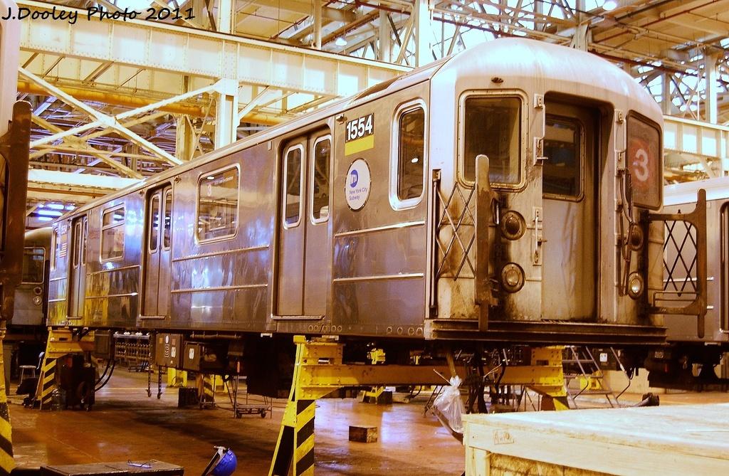 (405k, 1024x669)<br><b>Country:</b> United States<br><b>City:</b> New York<br><b>System:</b> New York City Transit<br><b>Location:</b> Coney Island Shop/Overhaul & Repair Shop<br><b>Car:</b> R-62 (Kawasaki, 1983-1985)  1554 <br><b>Photo by:</b> John Dooley<br><b>Date:</b> 8/26/2011<br><b>Viewed (this week/total):</b> 0 / 602