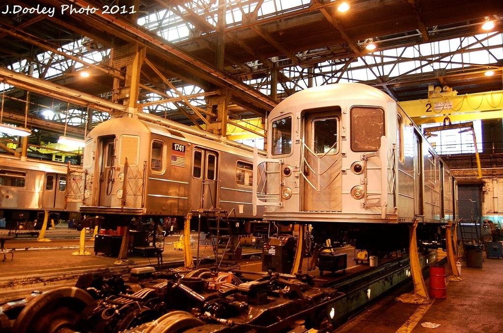 (426k, 1024x679)<br><b>Country:</b> United States<br><b>City:</b> New York<br><b>System:</b> New York City Transit<br><b>Location:</b> Coney Island Shop/Overhaul & Repair Shop<br><b>Car:</b> R-62A (Bombardier, 1984-1987)  1741 <br><b>Photo by:</b> John Dooley<br><b>Date:</b> 11/29/2011<br><b>Viewed (this week/total):</b> 0 / 494