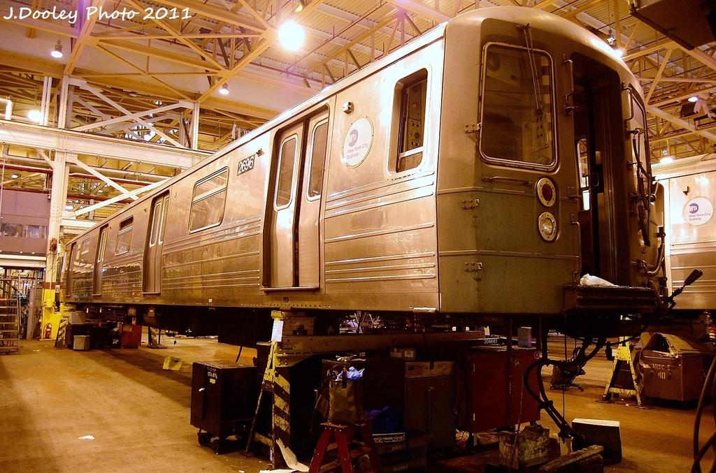 (403k, 1024x677)<br><b>Country:</b> United States<br><b>City:</b> New York<br><b>System:</b> New York City Transit<br><b>Location:</b> Coney Island Shop/Overhaul & Repair Shop<br><b>Car:</b> R-68 (Westinghouse-Amrail, 1986-1988)  2696 <br><b>Photo by:</b> John Dooley<br><b>Date:</b> 8/26/2011<br><b>Viewed (this week/total):</b> 0 / 510