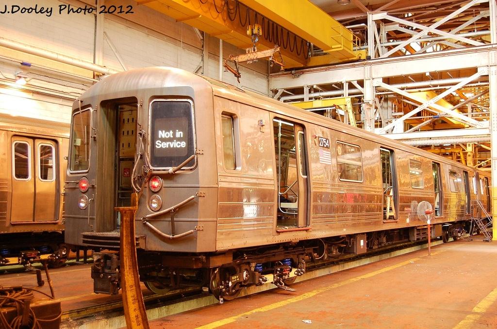 (404k, 1024x679)<br><b>Country:</b> United States<br><b>City:</b> New York<br><b>System:</b> New York City Transit<br><b>Location:</b> Coney Island Shop/Overhaul & Repair Shop<br><b>Car:</b> R-68 (Westinghouse-Amrail, 1986-1988)  2754 <br><b>Photo by:</b> John Dooley<br><b>Date:</b> 1/7/2012<br><b>Viewed (this week/total):</b> 0 / 621