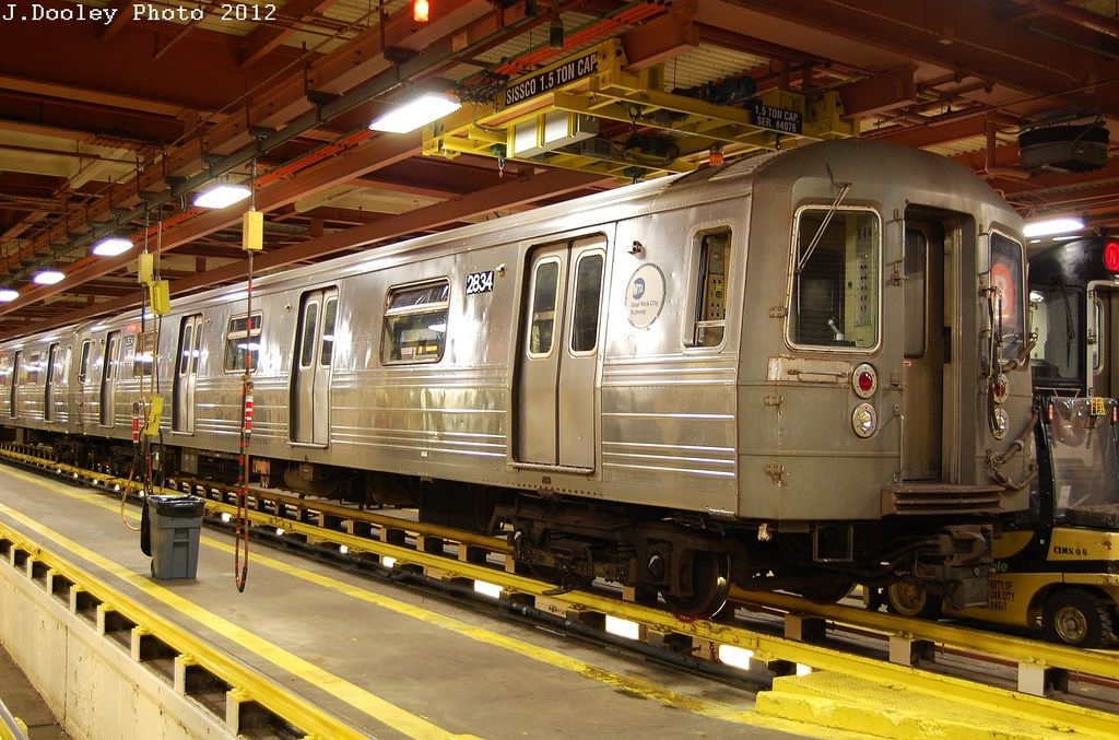 (383k, 1024x677)<br><b>Country:</b> United States<br><b>City:</b> New York<br><b>System:</b> New York City Transit<br><b>Location:</b> Coney Island Shop/Overhaul & Repair Shop<br><b>Car:</b> R-68 (Westinghouse-Amrail, 1986-1988)  2834 <br><b>Photo by:</b> John Dooley<br><b>Date:</b> 2/27/2012<br><b>Viewed (this week/total):</b> 0 / 902