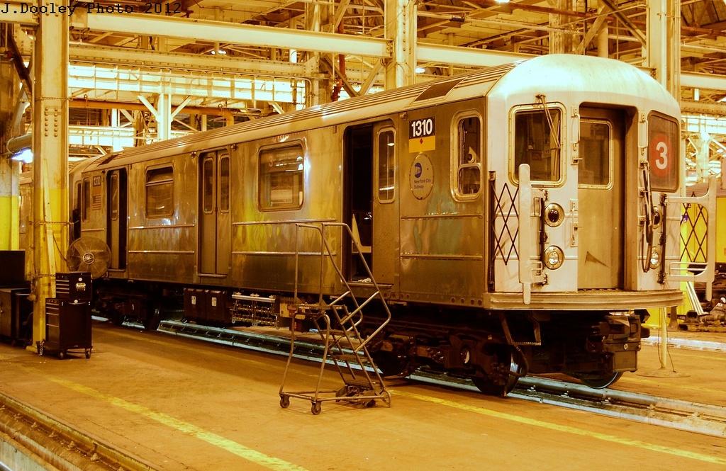 (376k, 1024x665)<br><b>Country:</b> United States<br><b>City:</b> New York<br><b>System:</b> New York City Transit<br><b>Location:</b> Coney Island Shop/Overhaul & Repair Shop<br><b>Car:</b> R-62 (Kawasaki, 1983-1985)  1310 <br><b>Photo by:</b> John Dooley<br><b>Date:</b> 2/27/2012<br><b>Viewed (this week/total):</b> 0 / 517