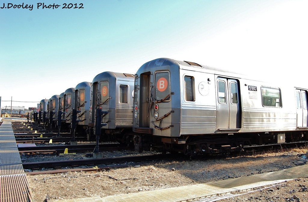 (327k, 1024x672)<br><b>Country:</b> United States<br><b>City:</b> New York<br><b>System:</b> New York City Transit<br><b>Location:</b> Coney Island Yard<br><b>Car:</b> R-68A (Kawasaki, 1988-1989)  5180 <br><b>Photo by:</b> John Dooley<br><b>Date:</b> 1/7/2012<br><b>Viewed (this week/total):</b> 4 / 833