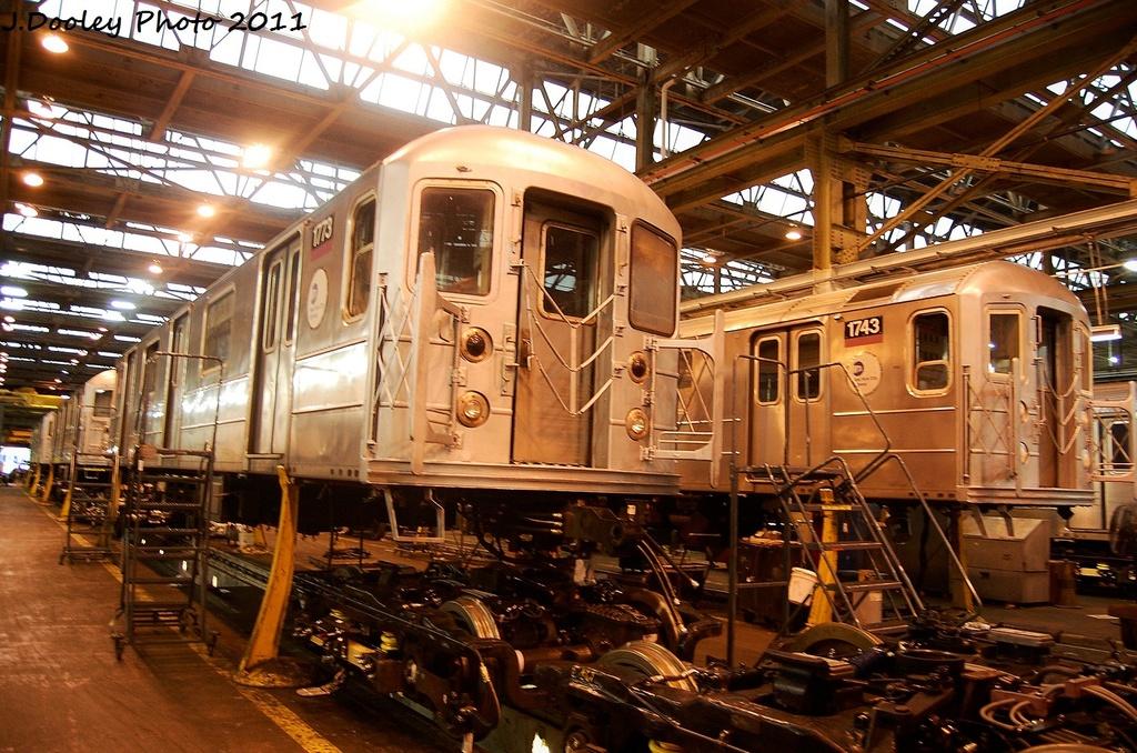 (402k, 1024x678)<br><b>Country:</b> United States<br><b>City:</b> New York<br><b>System:</b> New York City Transit<br><b>Location:</b> Coney Island Shop/Overhaul & Repair Shop<br><b>Car:</b> R-62A (Bombardier, 1984-1987)  1773/1743 <br><b>Photo by:</b> John Dooley<br><b>Date:</b> 11/29/2011<br><b>Viewed (this week/total):</b> 3 / 444