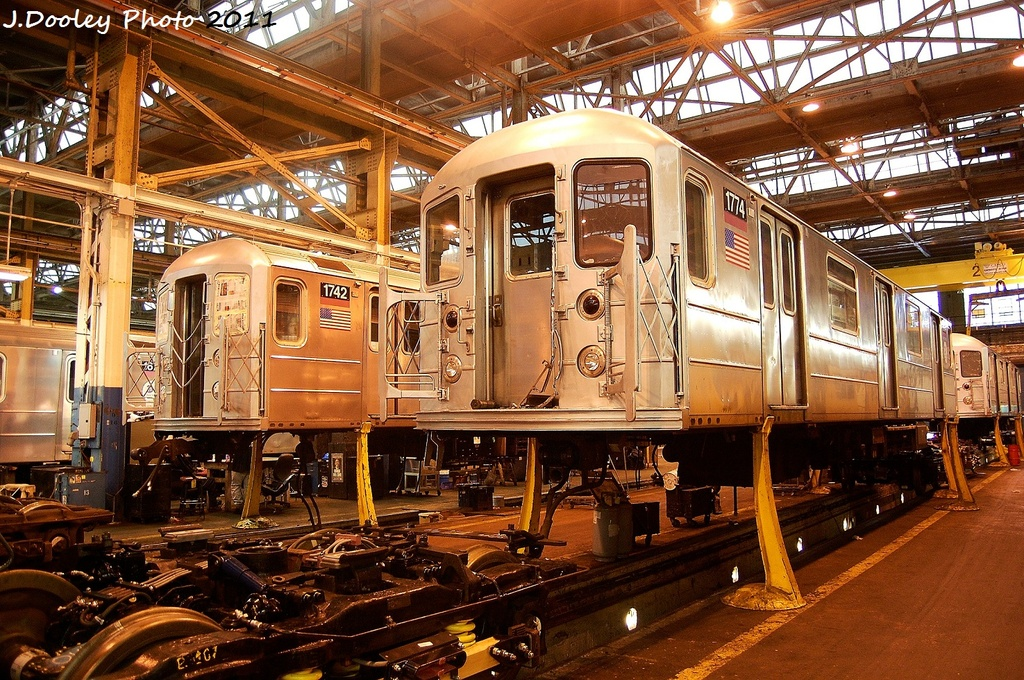 (458k, 1024x680)<br><b>Country:</b> United States<br><b>City:</b> New York<br><b>System:</b> New York City Transit<br><b>Location:</b> Coney Island Shop/Overhaul & Repair Shop<br><b>Car:</b> R-62A (Bombardier, 1984-1987)  1742/1774 <br><b>Photo by:</b> John Dooley<br><b>Date:</b> 11/29/2011<br><b>Viewed (this week/total):</b> 0 / 538