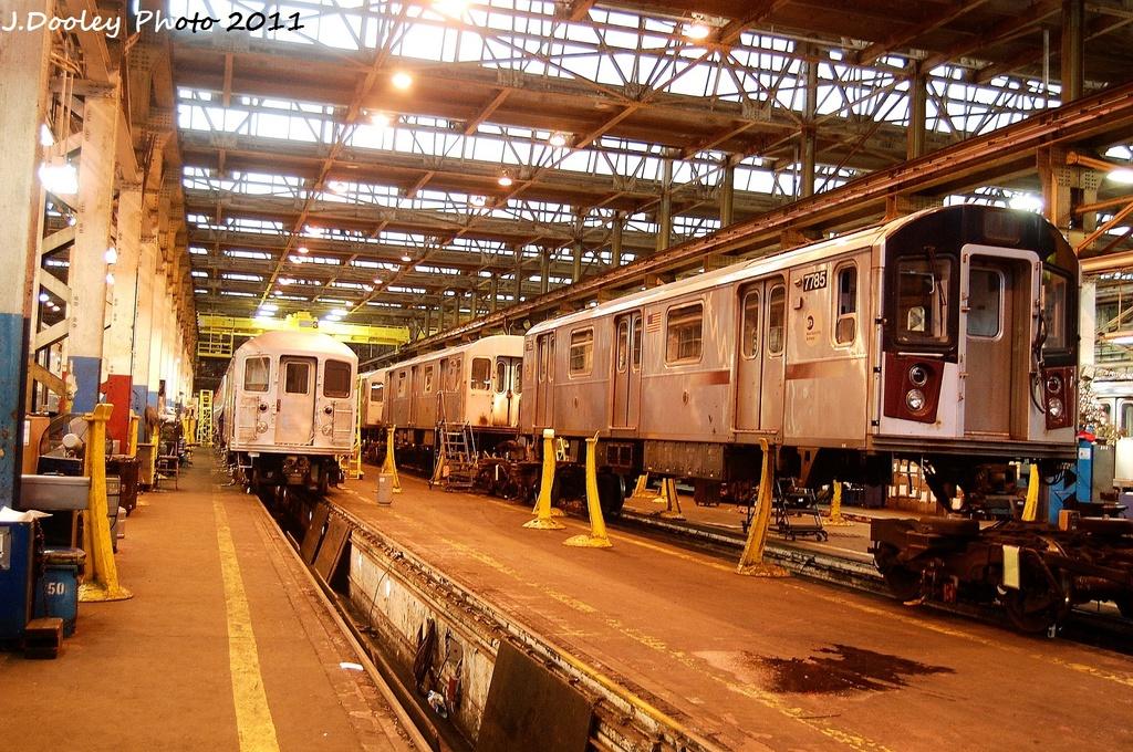(445k, 1024x680)<br><b>Country:</b> United States<br><b>City:</b> New York<br><b>System:</b> New York City Transit<br><b>Location:</b> Coney Island Shop/Overhaul & Repair Shop<br><b>Car:</b> R-142A (Supplemental Order, Kawasaki, 2003-2004)  7785 <br><b>Photo by:</b> John Dooley<br><b>Date:</b> 11/29/2011<br><b>Viewed (this week/total):</b> 0 / 695
