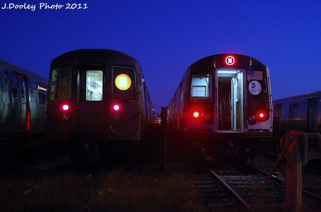 (288k, 1024x677)<br><b>Country:</b> United States<br><b>City:</b> New York<br><b>System:</b> New York City Transit<br><b>Location:</b> Coney Island Yard<br><b>Car:</b> R-68A (Kawasaki, 1988-1989)   <br><b>Photo by:</b> John Dooley<br><b>Date:</b> 10/15/2011<br><b>Viewed (this week/total):</b> 0 / 932