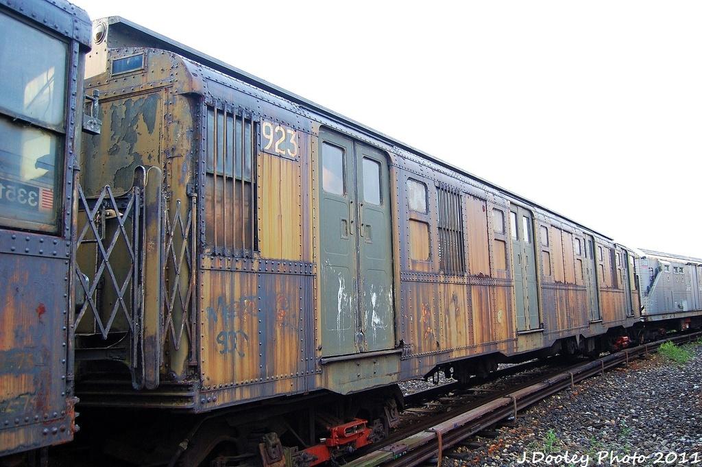 (340k, 1024x681)<br><b>Country:</b> United States<br><b>City:</b> New York<br><b>System:</b> New York City Transit<br><b>Location:</b> Coney Island Yard-Museum Yard<br><b>Car:</b> R-6-3 (American Car & Foundry, 1935)  923 <br><b>Photo by:</b> John Dooley<br><b>Date:</b> 8/26/2011<br><b>Viewed (this week/total):</b> 0 / 1241