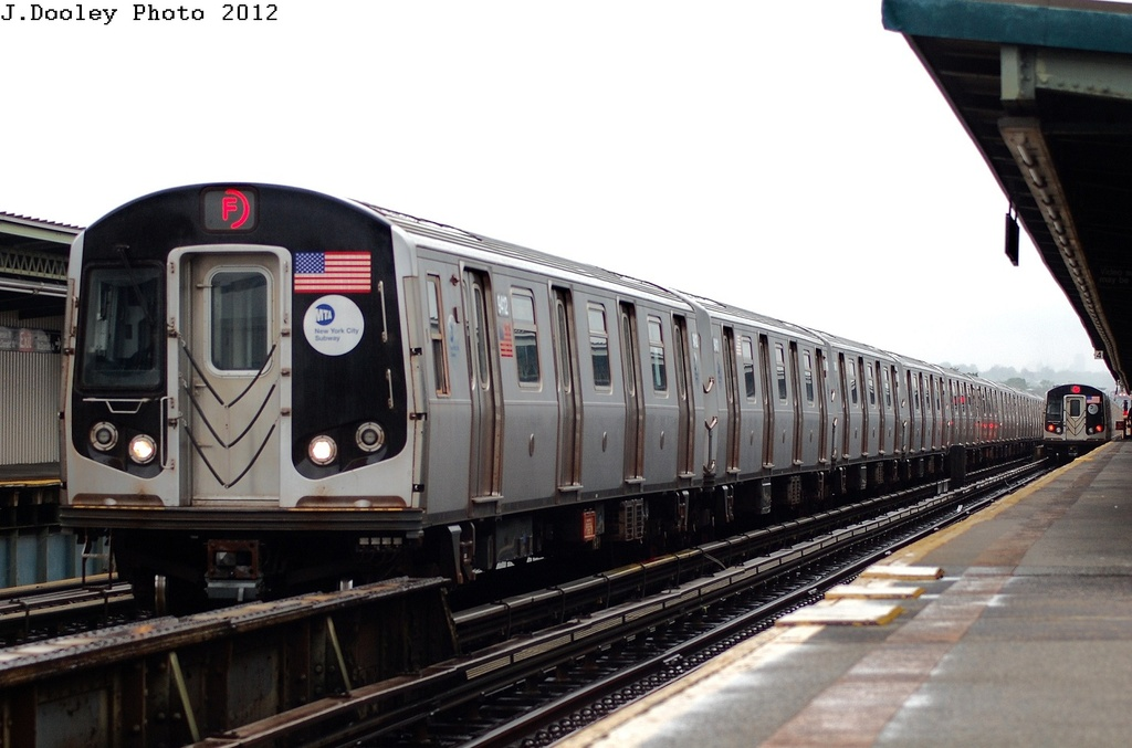 (250k, 1024x677)<br><b>Country:</b> United States<br><b>City:</b> New York<br><b>System:</b> New York City Transit<br><b>Line:</b> BMT Culver Line<br><b>Location:</b> Avenue N <br><b>Route:</b> F<br><b>Car:</b> R-160A (Option 1) (Alstom, 2008-2009, 5 car sets)  9412 <br><b>Photo by:</b> John Dooley<br><b>Date:</b> 5/2/2012<br><b>Viewed (this week/total):</b> 1 / 1058