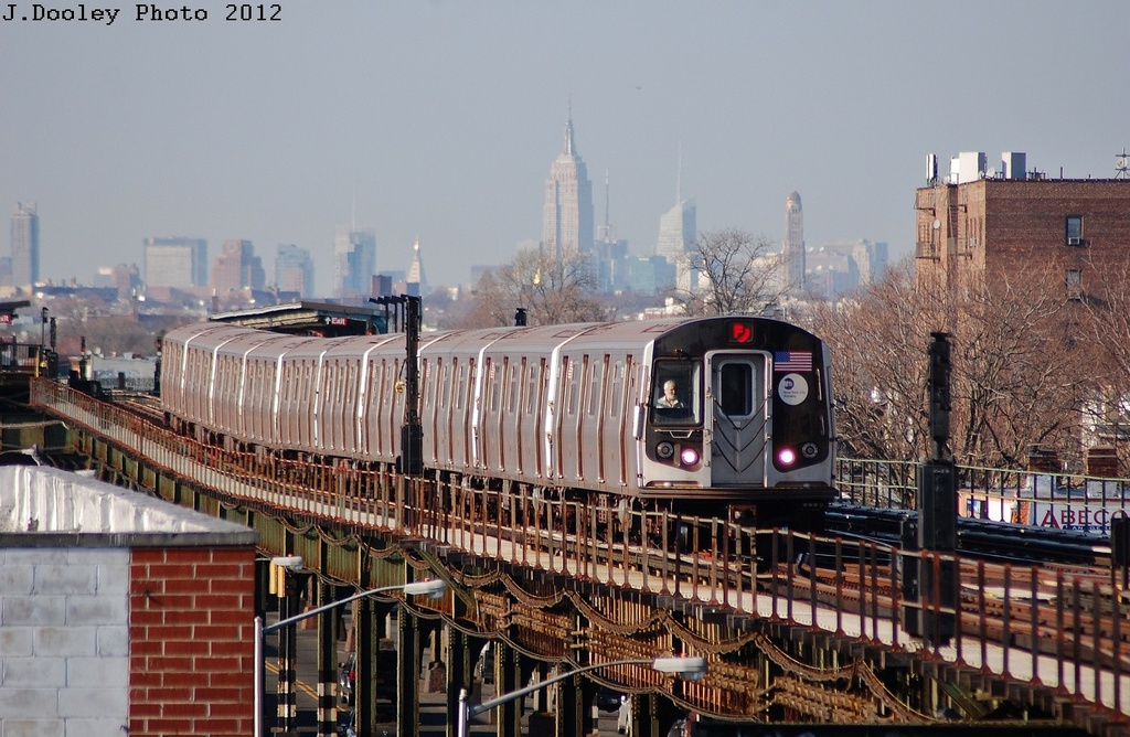 (340k, 1024x668)<br><b>Country:</b> United States<br><b>City:</b> New York<br><b>System:</b> New York City Transit<br><b>Line:</b> BMT Culver Line<br><b>Location:</b> Kings Highway <br><b>Route:</b> F<br><b>Car:</b> R-160A (Option 2) (Alstom, 2009, 5-car sets)  9657 <br><b>Photo by:</b> John Dooley<br><b>Date:</b> 3/19/2012<br><b>Viewed (this week/total):</b> 0 / 822